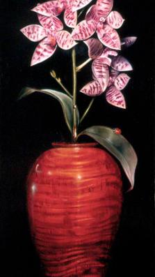 Lucky Orchid 23' x 9' - oil on koa