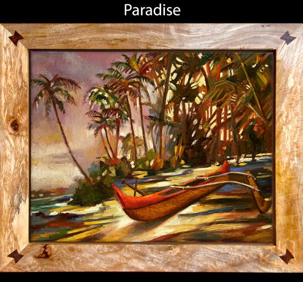 Paradise 8%22 x 10%22 L.E. 19%22 x 2 - oil on koa