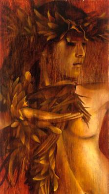 Godess of Hula 23%22 x 9%22 - oil on koa