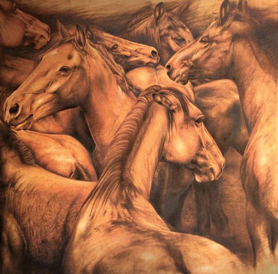Mustangs 40' x 40' - oil on koa