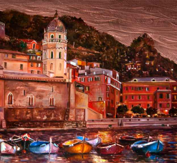 Tramonto a Vernazza 12%22 x 30%22 - oil on copper
