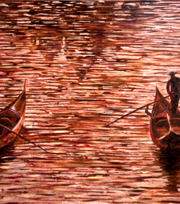 Gondole al Tramonto 12%22 x 16%22 - oil on copper