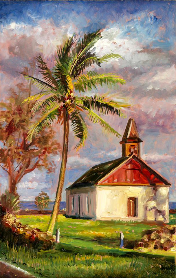 Kaupo Church - Study 8' x 5' - oil on copper