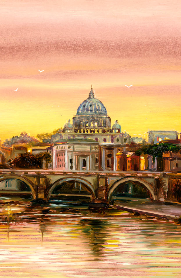 Golden Rome 12%22 x 6%22 - oil on copper