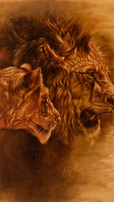 Queen & King 40' x 33' - oil on koa
