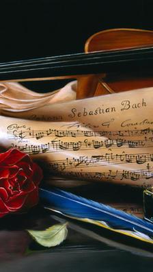 Bach Concerto per Due Violini - oil on plaster