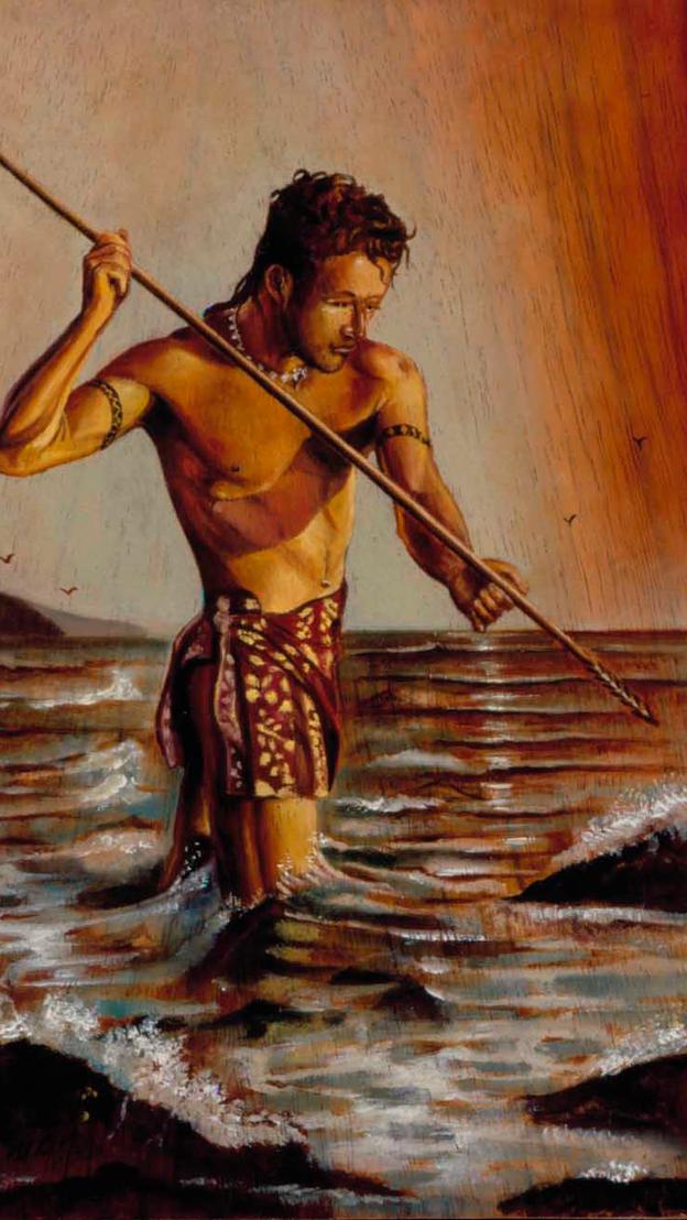 Fisherman 10%22 x 8%22 - L.E. 20%22 - oil on koa