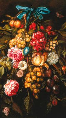 Fiori e Frutta 28' x 20' - oil on plaster