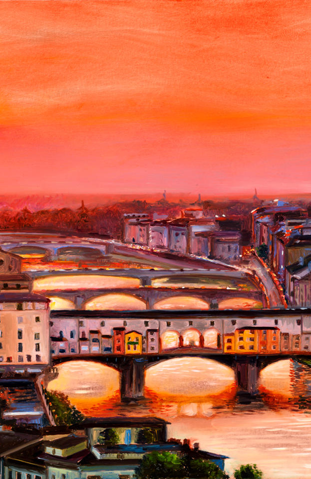 Florentine Sunset 10%22 x 13%22 - oil on copper