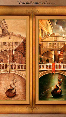 Venezia Romantica diptich 40%22 x 39 - oil on plaster