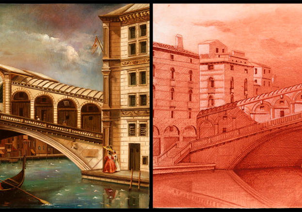 "Ancient Bridge 12"" x 20"" , 14"" x 20' - oil on masonite - conte crayon"