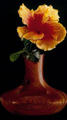Maui Bloom 15%22 x 22%22 - oil on koa