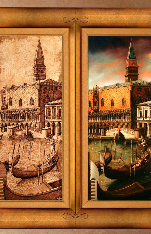 Venezia Antica diptich 40%22 x 39%22 - oil on plaster