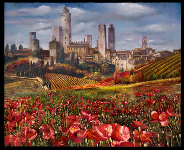 Papaveri in San Gimignano 21%22 x 46 - oil in masonite