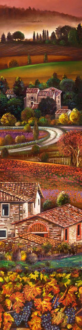 Uva Toscana 39%22 x 9%22 - oil on koa