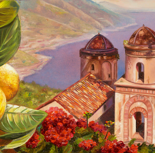 Limoncello a Ravello 8%22 x 16%22 - oil on copper