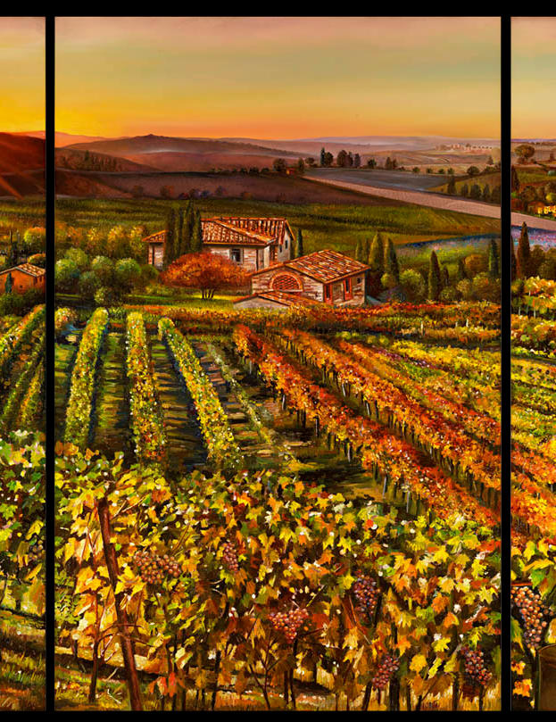Romantic Tuscany triptick 32%22 x 47 - oil on copper