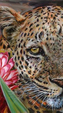 Mamma leopard - oil on copper
