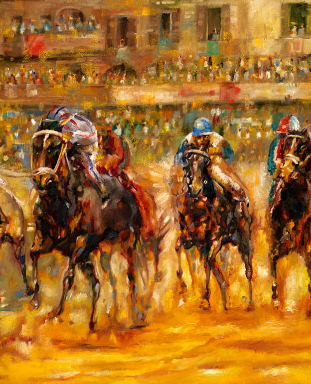 Siena Palio 20%22 x 28%22 - oil on masonite