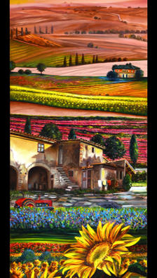Colline in Toscana 17%22 x 9%22 - oil on copper