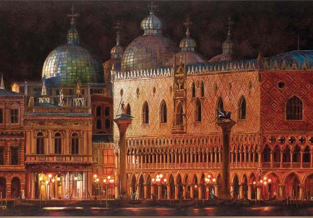 Full Moon in Venice 48%22 x 26%22 - oil on masonite