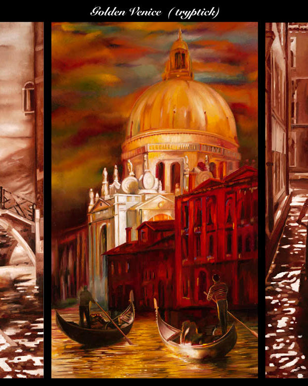 Golden Venice triptick 31%22 x 46%22 - oil on masonite