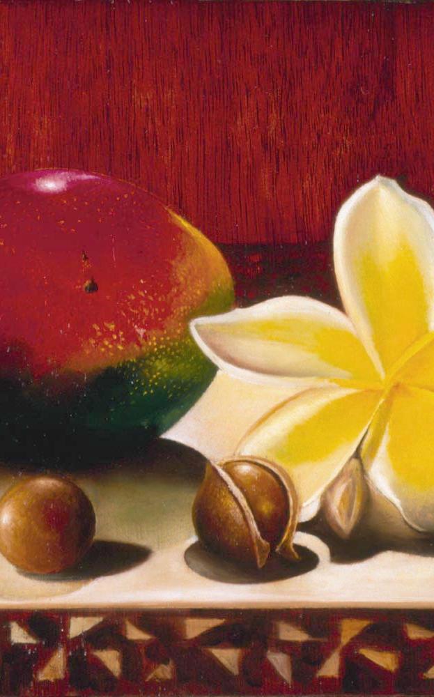 Maui Mango 8%22 x 10%22 L.E. 12%22x - oil on koa