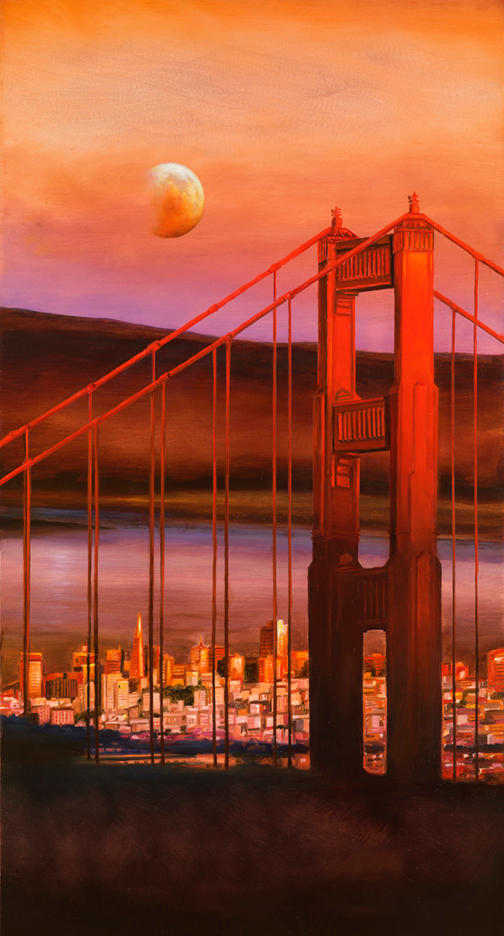 Moon Over The Golden Gate 26'x 14'  - oil on copper