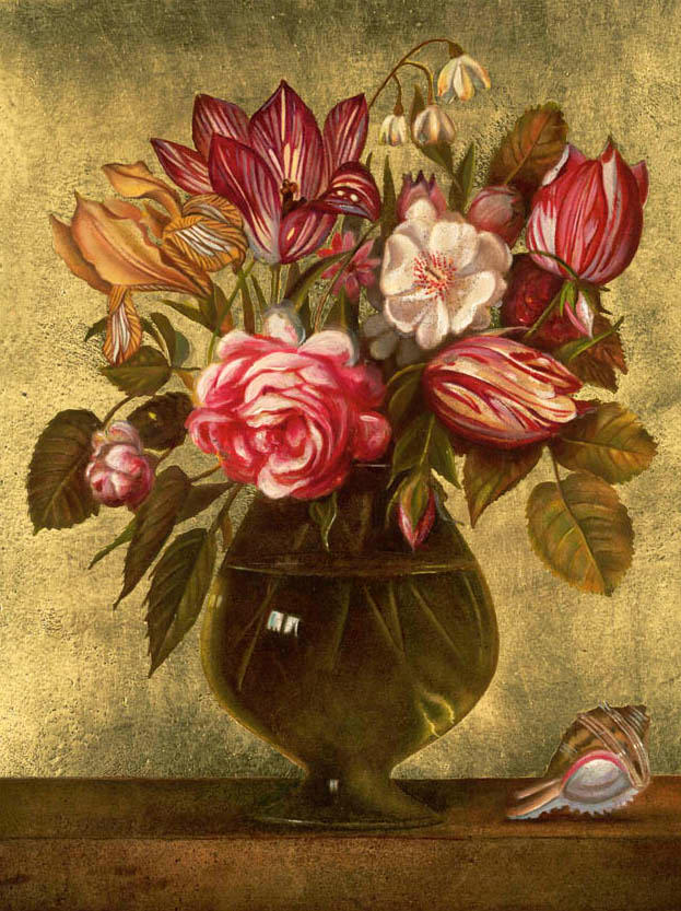 09) Flowers 24' x 20' - oil on plaster .