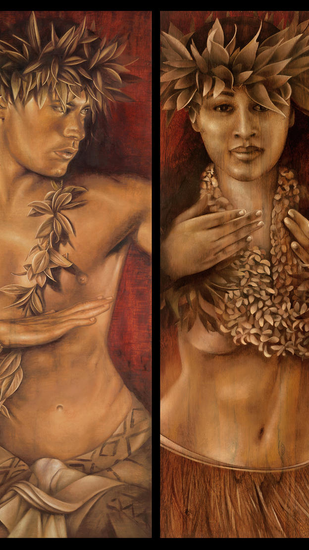 Kanani & her Soulmate duet - oil on koa