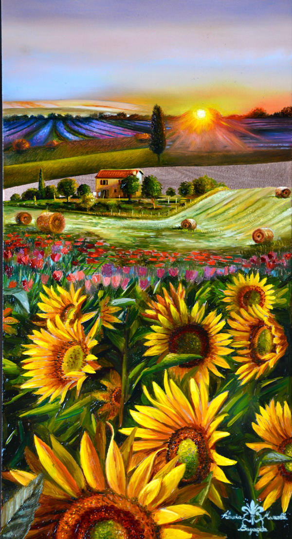 Tuscan Sunrise 17%22 x 9%22 - oil on copper