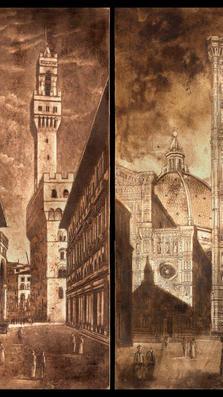 Tramonto Fiorentino - drypoint on plaster