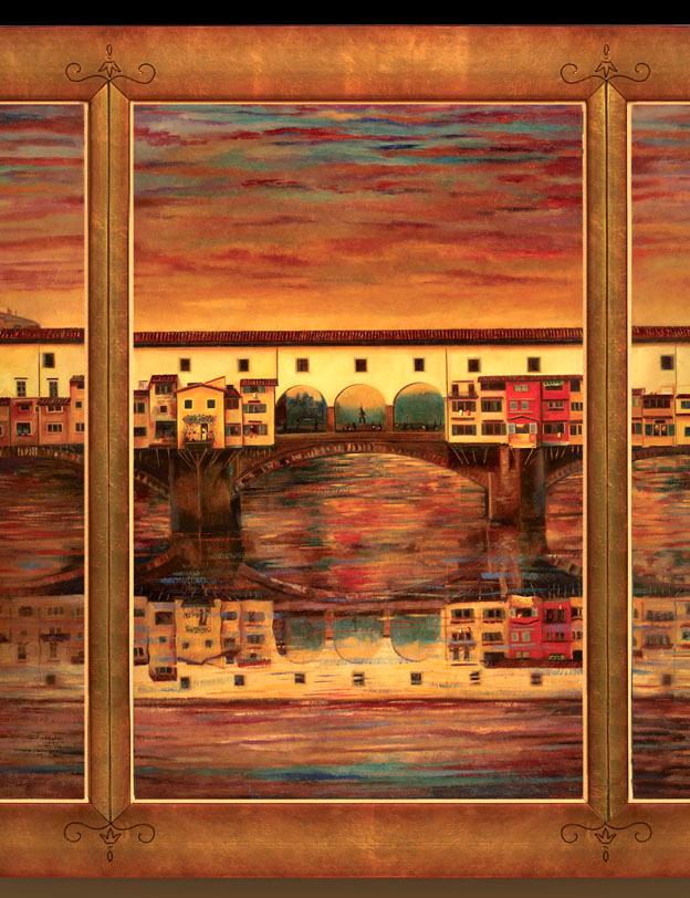 Finestre sull'Arno  43%22 x 60%22 - oil on masonite