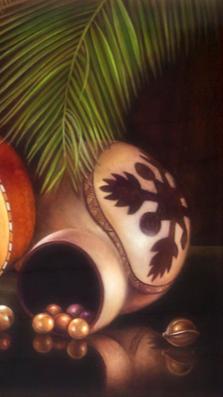 Notes from Maui 27%22 x 36%22 - oil on koa