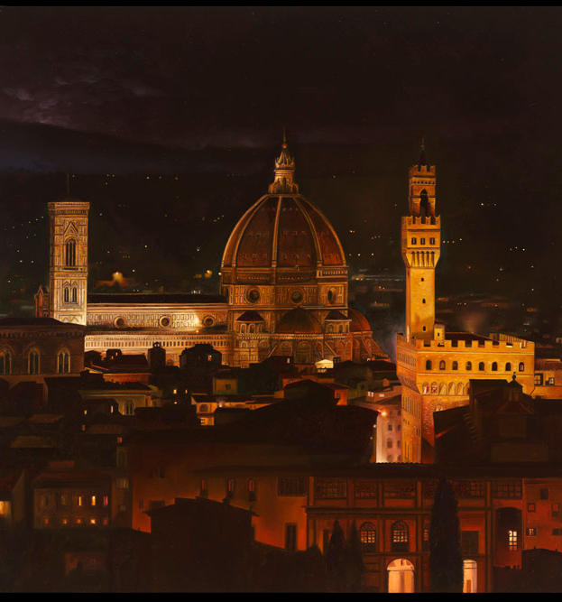 Florence a Night 23%22 x 37%22 - oil on plaster