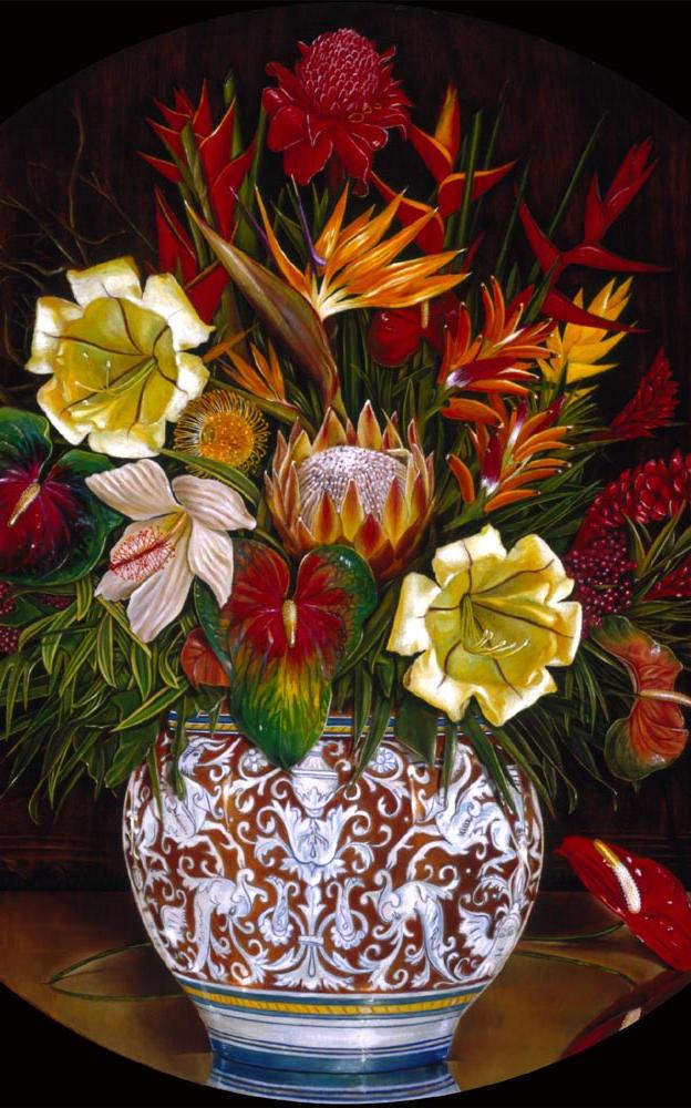 Tropical Flowers 31%22D - oil on koa