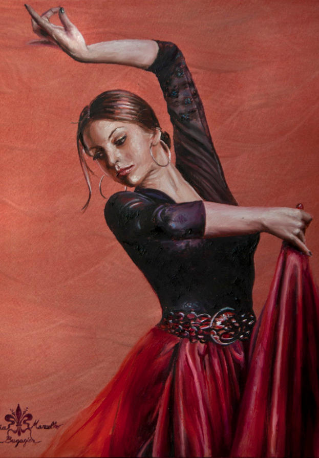 Flamenco 10' x 8' - oil on koa
