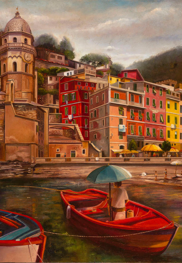 Vernazza 30%22x 30%22 - oil on masonite