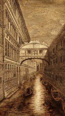 Ponte  dei Sospiri 39%22 x 31%22 drypoint on plaster