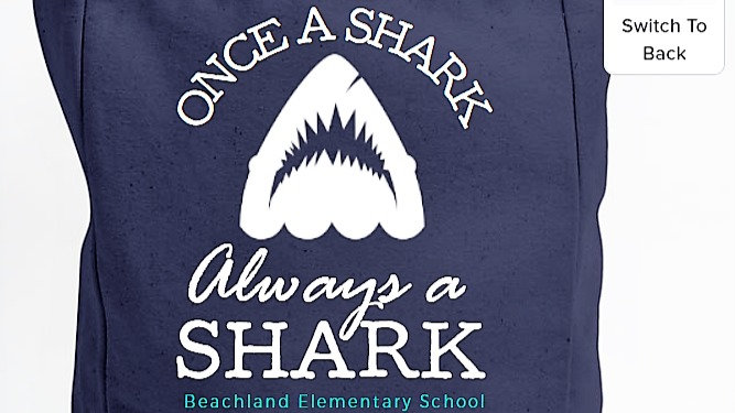 Beachland Shark Tote Bag - 100% Cotton Canvas