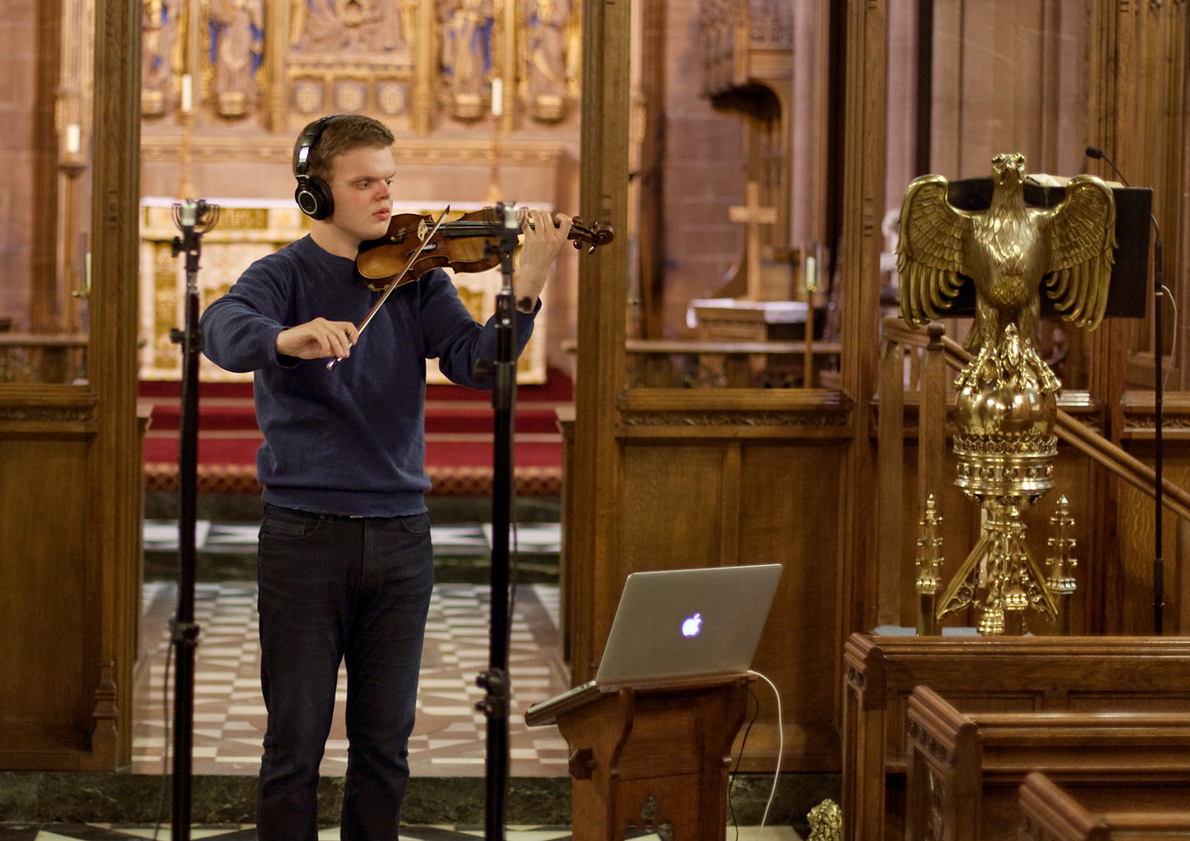 Philip Chidell violinist, church of St Mary, Eccleston, Cheshire