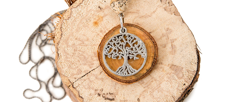 Necklace, Yoga jewelry, made in Canada, tree of life charm, tree of life necklace, salvaged wood, yoga products, mantus,