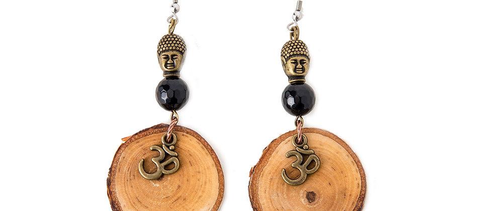 Yoga jewelry, yoga products, yoga earrings, buddha earrings, black onyx buddha, birch earrings, made in muskoka,