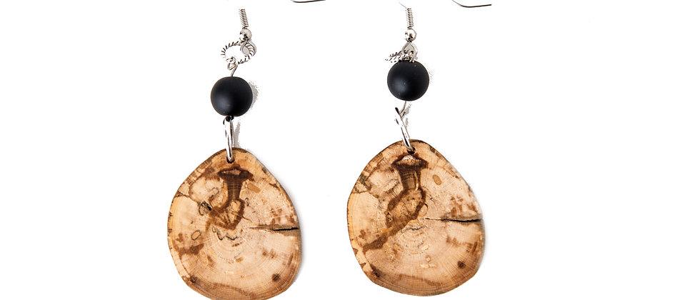 Yoga jewelry, yoga products, yoga earrings, black onyx buddha, spalted maple earrings, made in muskoka, made in Canada jewel