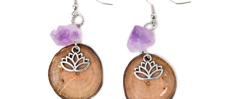 Yoga jewelry, yoga products, yoga earrings, lotus earrings, amethyst earrings, birch earrings, crystal earrings