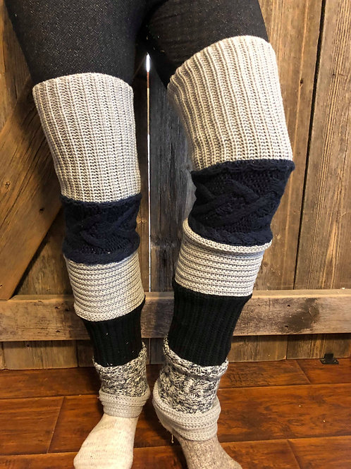 Black+Grey Leg Warmers
