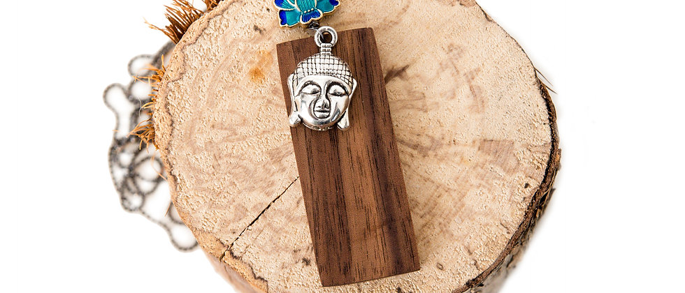 yoga jewelry, yoga products, salvage wood, buddha necklace, lotus necklace with wood, jewelry made in Canada, Walnut, ecolux