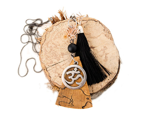 Necklace, Yoga jewelry, tassel, made in Canada, OM charm, lotus charm, salvaged wood, spalted maple, yoga products, mantus