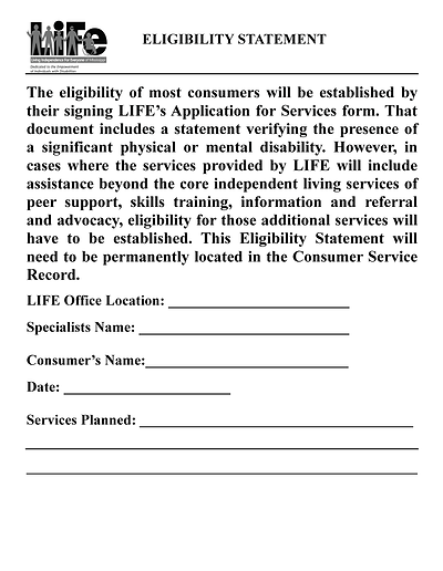 LIFE Eligibility Statement page 1 pdf