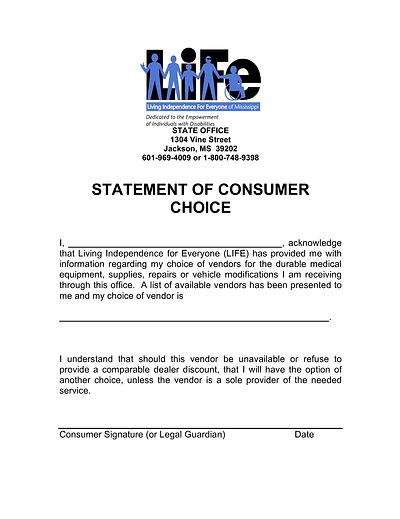 Statement of Consumer Choice pdf